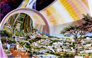 KurzweilAIより。宇宙コロニーの内部構想図(credit:  D,Davis/NASA Ames Research Center)
