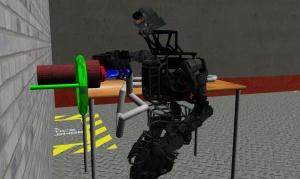 ホースを取り付けるバーチャル・ロボット