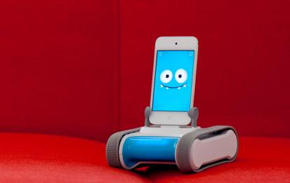 スマートフォンを載せたロモ。小型のモバイル兼テレプレゼンス・ロボット。