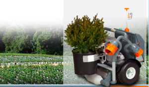 鉢植えを運んで一列に並べるなどの作業を行うハーベスト・オートメーション社のロボット(http://www.harvestai.com/より)