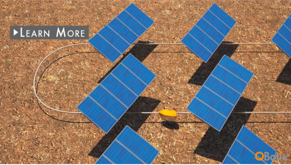 モノレール上を走行してソーラーパネルの向きを変えるキューボティックス社のロボット(www.qbotix.comより)