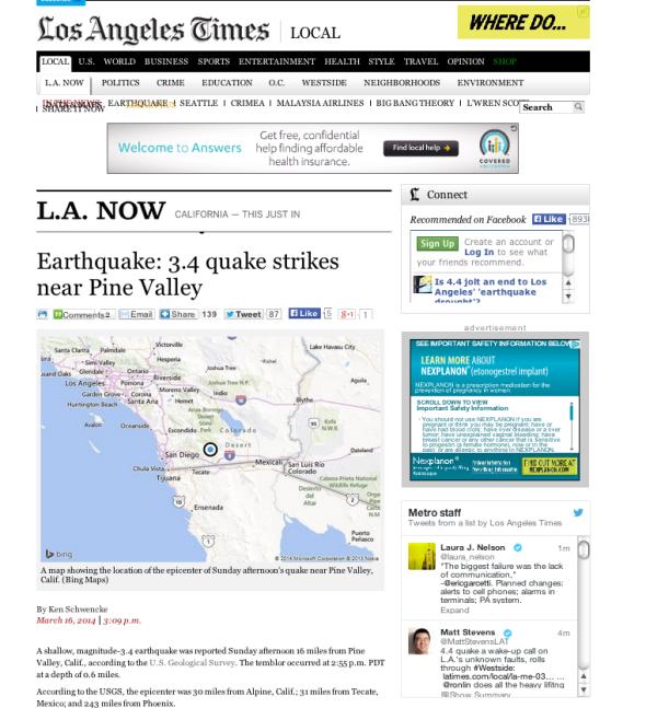 クウェイクボットが書いた記事の例(http://www.latimes.com/より)