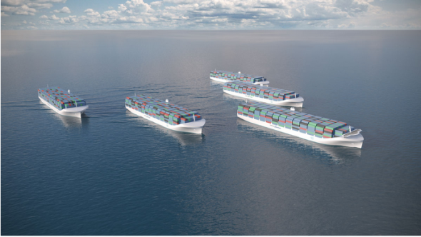 ロールスロイス社が構想中の自律航行貨物船(Rolls-Royce Holdingsより)