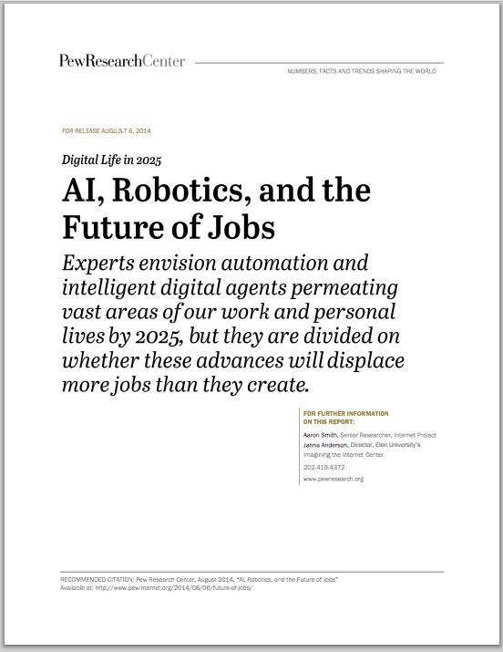 懸案のロボット、AIと人間の仕事に関する調査。(http://www.pewinternet.org/より)