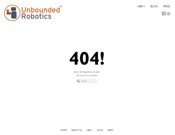 アンバウンデッド・ロボティクス社の会社紹介ページだけが消えた(http://unboundedrobotics.com/より)