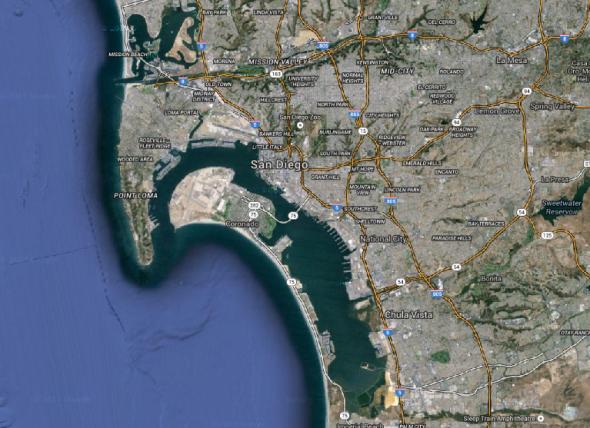 サンディエゴ周辺を上空から(map.google.comより)