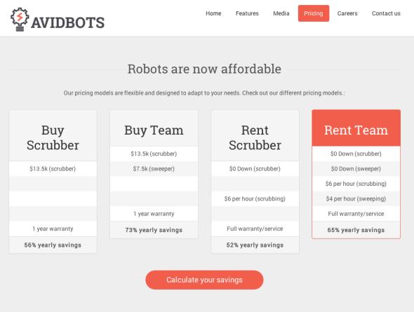 アヴィッドボッツ社のいろいろなモデル。床磨きロボットは買えば1万3500ドル、借りれば1時間あたり6ドルだ(http://www.avidbots.com/より)