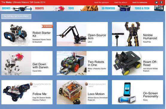 手作り感いっぱいの『メーカー・マガジン』のロボット・ギフト。(http://giftguide.makezine.com/より)