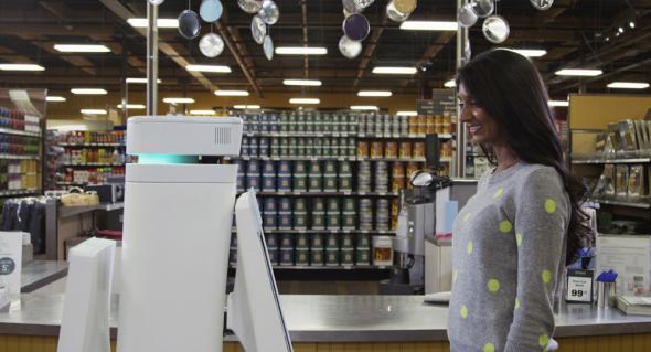 客を売り場まで案内したり、製品情報を引き出してくれるオッシュボット。無駄なおしゃべりはなし(http://fellowrobots.com/より)