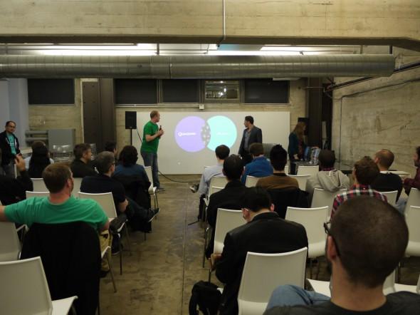 さる2月12日にサンフランシスコで開かれたロボティクス・アクセラレーター説明会の様子。ロボット開発者らが集まった。